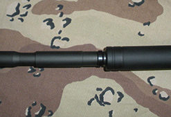 Long FAKE Suppressor for Non-threaded Mossberg Tactical 22 Barrel - 6 Inch