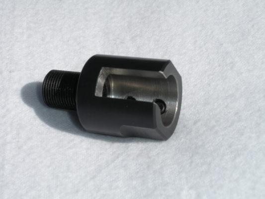 Custom Diameter and Slot Threaded Barrel Adapter for Plain Barrels - 1/2-28 - Black Stainless