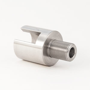 "Non-Threaded Barrel Adapter for Custom Diameter Barrel with Sight to 1/2""-28 Thread - Silver"