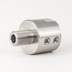 "Non-Threaded Barrel Adapter for Custom Diameter Barrel to 5/8""-24 Thread - Silver"